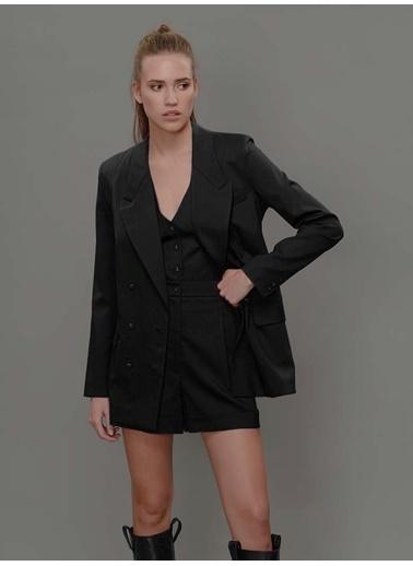 Faraway Kırlangıç Yaka Kruvaze Ceket Siyah
